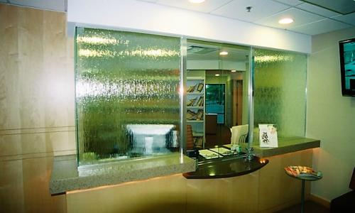 Rain glass reception area